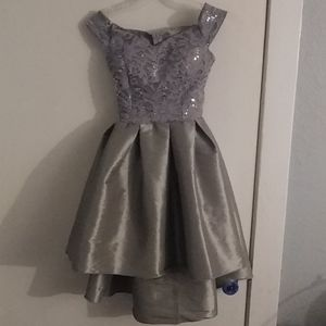 Silver High Low Formal Dress